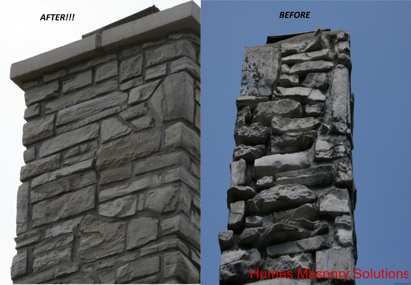Chimney Repair - Stone Veneer Installation