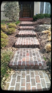 Repaired Brick Walkway. Remove all mortar in joints and replaced with the correct mortar for durability.